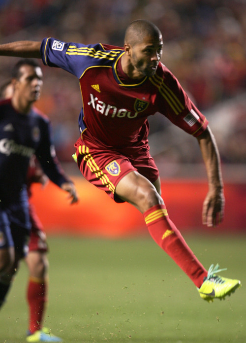 Steve Griffin  |  The Salt Lake Tribune   RSL forward Alvaro Saborio follows through on a shot during second half action in the Real Salt Lake versus Chivas USA soccer match at Rio TInto Stadium in Sandy, Utah Wednesday, October 23, 2013.