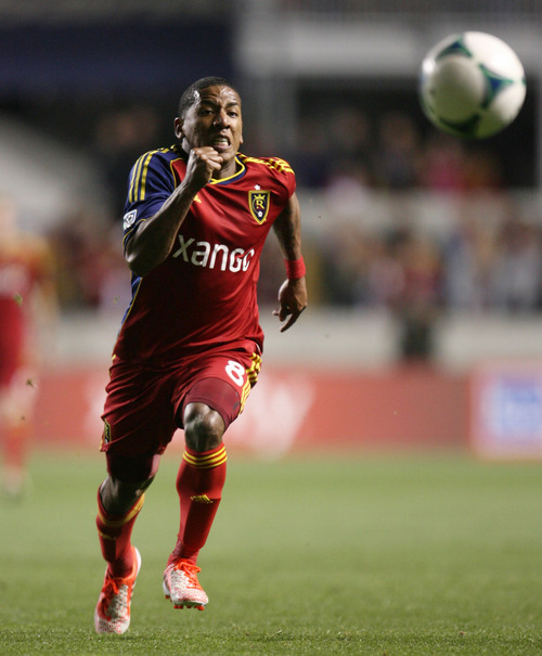 Steve Griffin  |  The Salt Lake Tribune   RSL forward Joao Plata chases after a pass during first half action in the Real Salt Lake versus Chivas USA soccer match at Rio TInto Stadium in Sandy, Utah Wednesday, October 23, 2013.