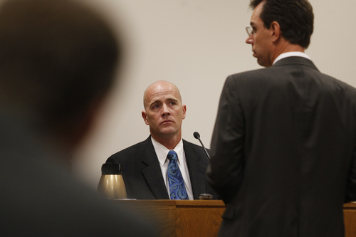 Mark Johnston  |  Pool  Marc Sanderson, chief of the Pleasant Grove Fire Department, testifies during the trial of Martin MacNeill at the 4th District Court in Provo Tuesday, Oct. 22, 2013. Sanderson responded to the MacNeill home the day MacNeill's wife, Michele MacNeill, died. Martin MacNeill is charged with murder for allegedly killing his wife.