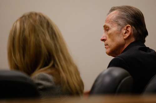 Mark Johnston  |  Pool  Pleasant Grove physician Martin MacNeill, right, charged with murder for allegedly killing his wife Michele MacNeill in 2007, sits next to his attorney Susanne Gustin in Judge Derek Pullan's 4th District Court in Provo Tuesday, Oct. 22, 2013.