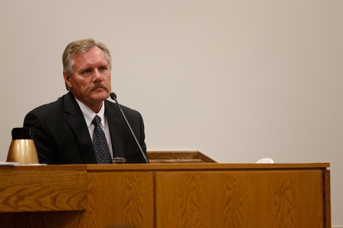 Mark Johnston  |  Pool  David Thomas, deputy chief of the Pleasant Grove Fire Department, testifies during the trial of Martin MacNeill at the 4th District Court in Provo Tuesday, Oct. 22, 2013. Thomas responded to the MacNeill home the day MacNeill's wife, Michele MacNeill, died. Martin MacNeill is charged with murder for allegedly killing his wife.