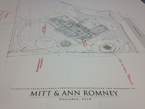 Matt Canham   The Salt Lake Tribune Drawings of Mitt and Ann Romney's soon-to-be-constructed Holladay home show it will be a nearly 7,900 mansion that features three bedrooms, plenty of storage space and just off the study, a secret room through a hidden door. The Tribune obtained the architectural drawings through a government records request.