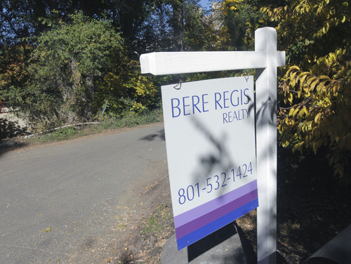 Al Hartmann  |  The Salt Lake Tribune Real estate sign at the location of Mitt Romney's new house.