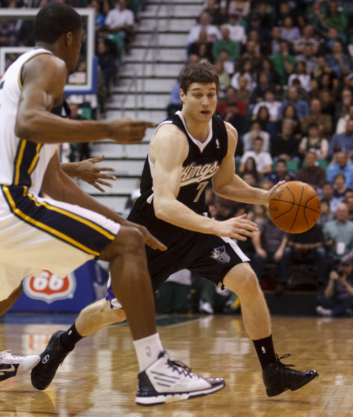 Trent Nelson  |  The Salt Lake Tribune Sacramento's Jimmer Fredette with the ball in the first half of game Saturday against the Utah Jazz at the EnergySolutions Arena in Salt Lake City. The Jazz downed the Kings, 96-93.