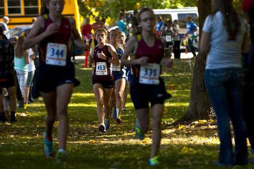 Chris Detrick  |  The Salt Lake Tribune Lone Peak junior Amelia Southworth competes during the 5A state cross country race at Sugar House Park Wednesday October 23, 2013. Herriman junior Lucy Biles won with a time of 17:41.9.