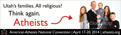 American Atheists  |  Courtesy photo A proposed billboard that the American Atheists say was rejected by Utah companies for their 2014 convention in Salt Lake City. The stock image was going to be replaced by a local model who fit the billing, organizers say.