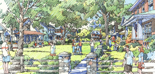 An artist's architetural rendering of Hill Farms. Courtesy image