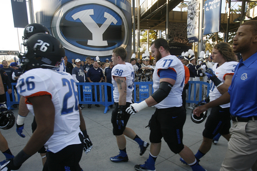 Scott Sommerdorf   |  The Salt Lake Tribune Boise State players head back to the lockerroom after the pre-game walk-through, Friday, October 25, 2013