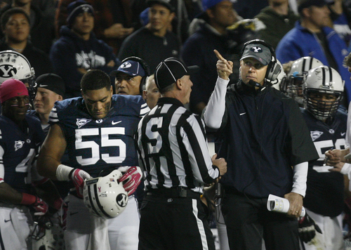 Scott Sommerdorf   |  The Salt Lake Tribune BYU head coach Bronco Mendenhall tries to get an official to look at a video replay claiming that WR Cody Hoffman was held. BYU WR Cody Hoffman could not reach a pass in the Boise State end zone during first half play. BYU held a 24-3 lead over Boise State, Friday, October 25, 2013