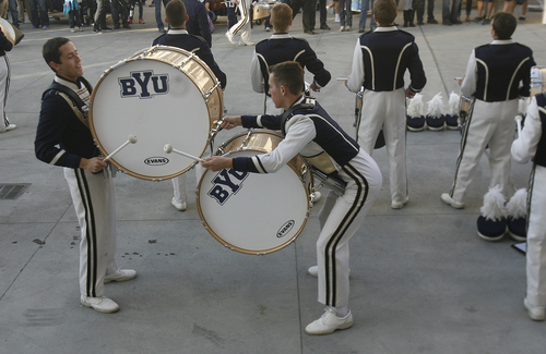 Scott Sommerdorf   |  The Salt Lake Tribune The BYU band entertains the crowd during pre-game, Friday, October 25, 2013