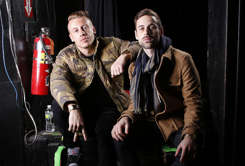 FILE - This Nov. 20, 2012 file photo shows Ben Haggerty, better known by his stage name Macklemore, left, and his producer Ryan Lewis at Irving Plaza in New York.  (Photo by Carlo Allegri/Invision/AP, file)
