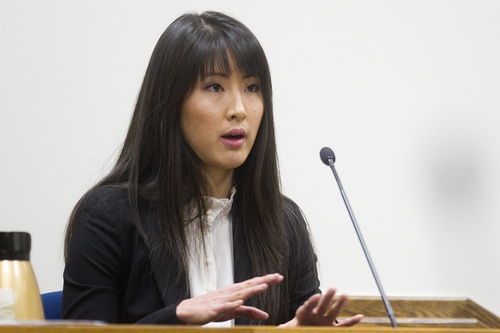 Spenser Heaps  |  Pool Eileen Heng, former girlfriend of Martin MacNeill's son Damian, testifies during the trial of Martin MacNeill at 4th District Court in Provo on Wednesday, Oct. 23, 2013. MacNeill, a Pleasant Grove physician, is charged with murder for allegedly killing his wife Michele MacNeill in 2007.
