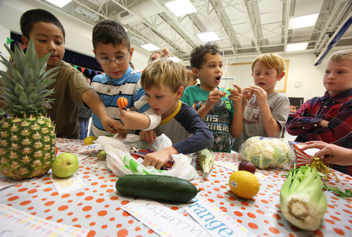 Francisco Kjolseth  |  The Salt Lake Tribune Amelia Earhart Elementary School students in Provo learned about fruits and vegetables earlier this month as they celebrated the beginning of National School Lunch Week with a Utah Nutrition Fair.  Each station explained the importance of living a healthy lifestyle, how food can be fun and facts about the variety of fresh produce grown in Utah.