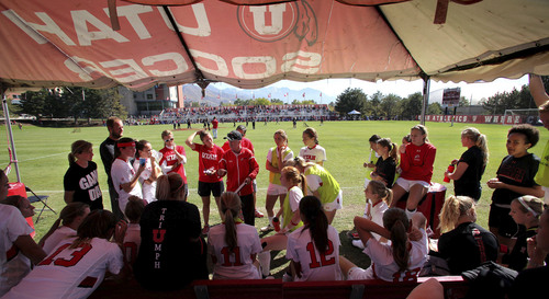 Utah Soccer coach Rich Manning talks with his team during halftime of a game vs. Oregon State October 6, 2013 in Salt Lake City.   Courtesy Steve C. Wilson  |  The University of Utah