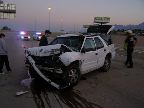 Courtesy image A man suffered serious injuries Oct. 26 when he crashed his SUV into barriers on Interstate 15 in Provo. He was arrested on suspicion of DUI.