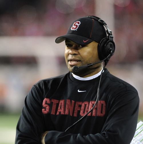 Stanford's head coach David Shaw prior to an NCAA college football game against Oregon State in Corvallis, Ore., Saturday Oct. 26, 2013. Stanford beat Oregon State 20-12. (AP Photo/Greg Wahl-Stephens)
