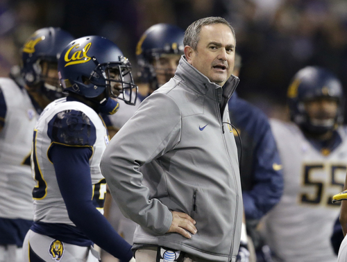California head coach Sonny Dykes looks on against Washington in the first half of an NCAA college football game Saturday, Oct. 26, 2013, in Seattle. (AP Photo/Elaine Thompson)