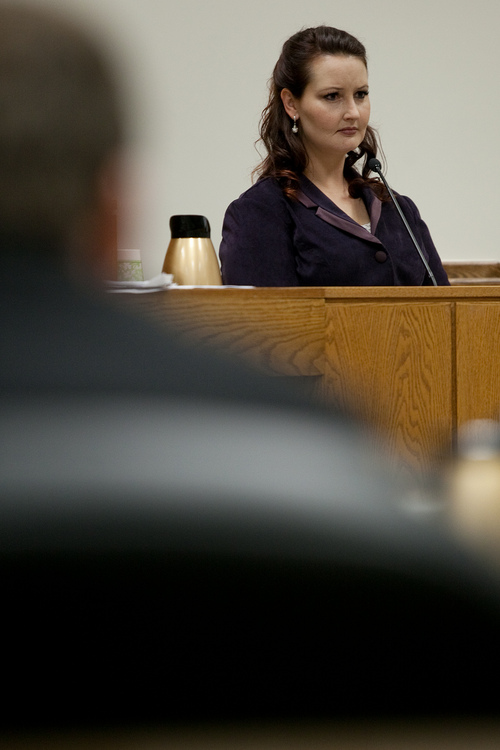 Mark Johnston  |  Pool  Gypsy Willis, who was in an extramarital affair with Martin MacNeill, testifies during MacNeill's trial at 4th District Court in Provo Tuesday, Oct. 29, 2013. MacNeill is charged with murder for allegedly killing his wife Michele MacNeill in 2007.