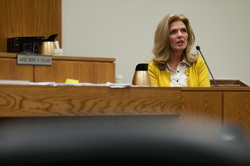 Mark Johnston  |  Pool  Cheryl Radmall, a close friend of the late Michele MacNeill, testifies during Martin MacNeill's trial at 4th District Court in Provo Tuesday, Oct. 29, 2013. MacNeill is charged with murder for allegedly killing his wife Michele MacNeill in 2007.