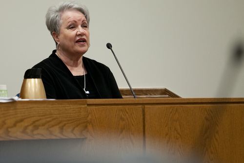 Mark Johnston  |  Pool  Loreen Thompson, a close friend of the late Michele MacNeill, testifies during Martin MacNeill's trial at 4th District Court in Provo Tuesday, Oct. 29, 2013. MacNeill is charged with murder for allegedly killing his wife Michele MacNeill in 2007.