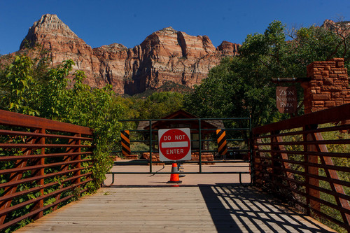 Trent Nelson  |  The Salt Lake Tribune The pedestrian entrance to Zion National Park remained closed due to the government shutdown Sunday, October 6, 2013.