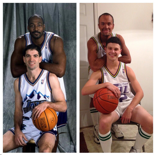 Tyler Christensen, bottom, and T.J. Smith portray John Stockton and Karl Malone, respectively. The Utah Jazz Twitter account retweeted this photo and the two have been widely criticized since.