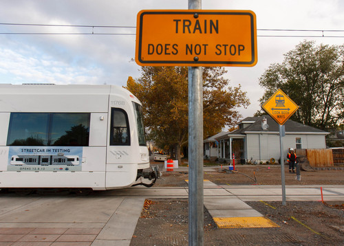 Trent Nelson  |  The Salt Lake Tribune A test train on the Sugar House Streetcar line, Tuesday October 29, 2013.