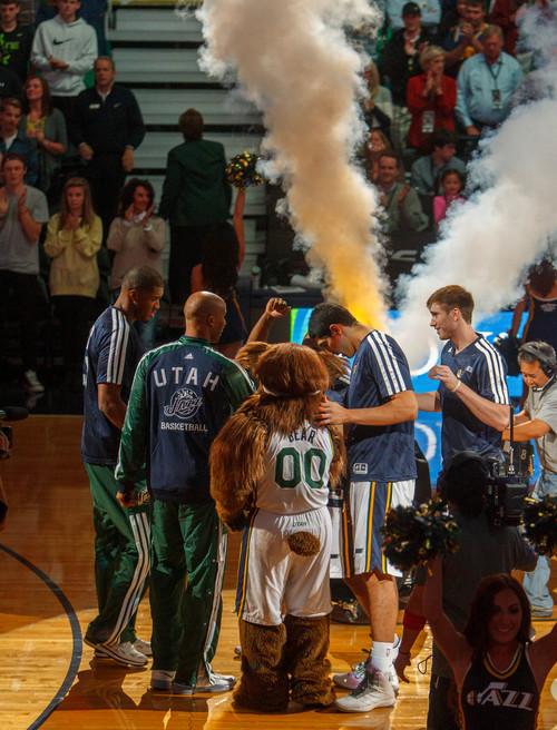 Trent Nelson  |  The Salt Lake Tribune The Utah Jazz take the floor, hosting the Oklahoma City Thunder, NBA Basketball at EnergySolutions Arena in Salt Lake City, Wednesday October 30, 2013.