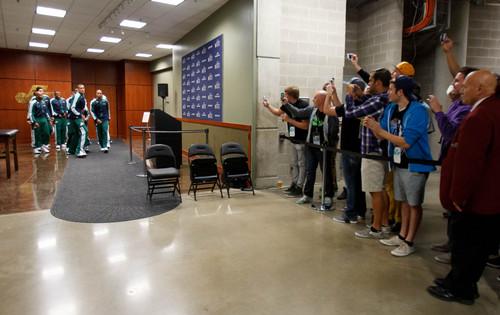 Trent Nelson  |  The Salt Lake Tribune Fans look on as the Utah Jazz prepare to take the floor, hosting the Oklahoma City Thunder, NBA Basketball at EnergySolutions Arena in Salt Lake City, Wednesday October 30, 2013.