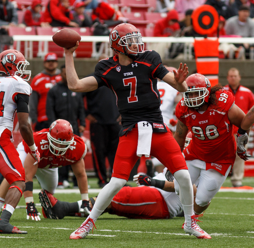 Trent Nelson  |  The Salt Lake Tribune Quarterback Travis Wilson during the University of Utah's Red-White Spring football game, Saturday April 20, 2013 in Salt Lake City.