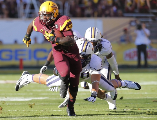 Arizona State running back Marion Grice (1) gains a first down during the first half of an NCAA college football game, Saturday, Oct. 19, 2013, in Tempe, Ariz. (AP Photo/Matt York)