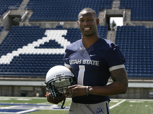 Scott Sommerdorf   |  The Salt Lake Tribune CB Nevin Lawson at Romney Stadium in Logan, Thursday, August 1, 2013.