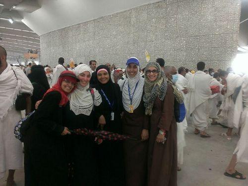 American friends, including several from Utah, at the hajj in Mecca. From left, Fozia Bashir from Freemont, CA, Arifa Irfan from Union City, CA, Fauziah Bymaster, Bountiful, Utah, Saba Hoda, Sandy, Utah, and Zayba Hoda, Des Moines, Iowa.  Courtesy Saba Hoda