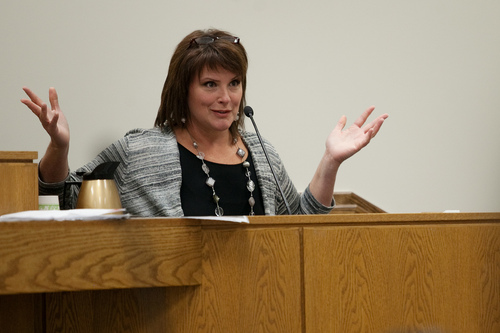 Mark Johnston  |  Pool  Anna Walthall, a former mistress of Martin MacNeill, testifies during his trial at 4th District Court in Provo Wednesday, Oct. 30, 2013. MacNeill is charged with murder for allegedly killing his wife Michele MacNeill in 2007.