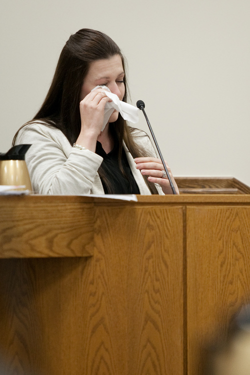 Mark Johnston  |  Pool  Alexis Somers wipes tears from her eyes while testifying at the trial of her father Martin MacNeill at 4th District Court in Provo Wednesday, Oct. 30, 2013. Martin MacNeill is charged with murder for allegedly killing his wife Michele MacNeill in 2007.