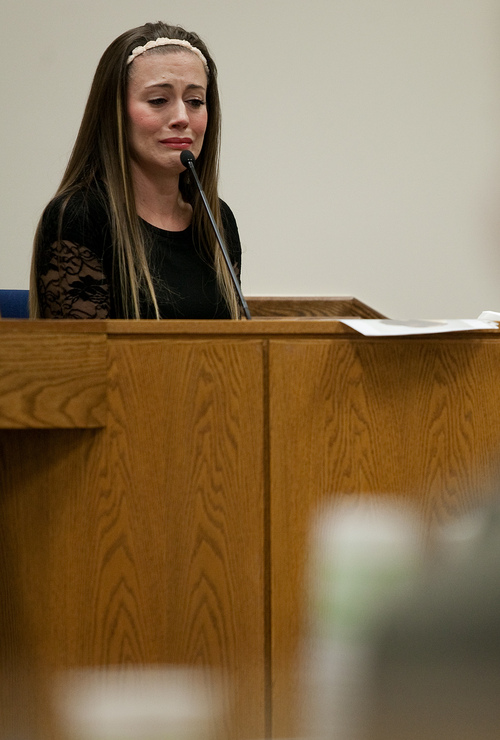 Mark Johnston  |  Pool  Vanessa MacNeill cries while testifying at the trial of her father Martin MacNeill at 4th District Court in Provo Wednesday, Oct. 30, 2013. Martin MacNeill is charged with murder for allegedly killing his wife Michele MacNeill in 2007.