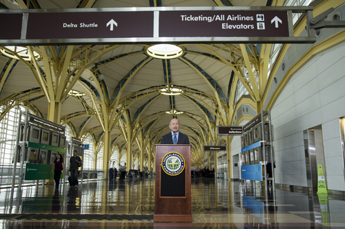 Federal Aviation Administration (FAA) Administrator Michael Huerta announces that government safety rules are changing to let airline passengers use most electronic devices from gate-to-gate during a news conference, Thursday, Oct. 31, 2013, at Washington's Ronald Reagan National Airport. The change will let passengers read, work, play games, watch movies and listen to music _ but not make cellphone calls. (AP Photo/ Evan Vucci)
