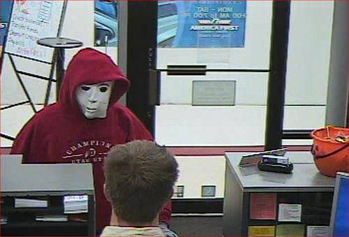 Centerville police photo  A masked man robbed A Centerville bank on Halloween night.