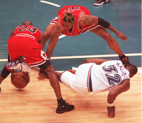 Tribune file photo  Michael Jordan steals the ball from Karl Malone in the final seconds of the NBA Finals.