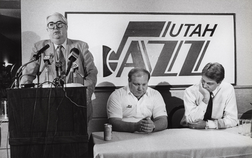 Tribune file photo  Frank Layden announces he is stepping down as head coach of the Utah Jazz while Larry H. Miller, center, and Dave Checketts listen.