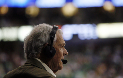 Tribune file photo  Utah Jazz radio announcer Hot Rod Hundley calls the play-by-play during second half action in the Jazz Wizards game at the EnergySolutions Arena Tuesday Mar 17, 2009.