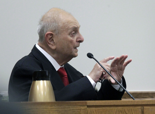 Al Hartmann  |  The Salt Lake Tribune Dr. Joshua Perper, a forensic pathology expert, gives testimony in the Martin MacNeill murder trial in Judge Derek Pullan's 4th District Court in Provo, Utah, Friday, Nov. 1, 2013.