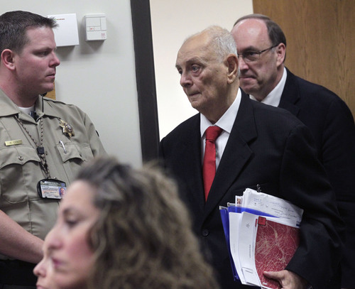 Al Hartmann  |  The Salt Lake Tribune Dr. Joshua Perper, a forensic pathology expert, enters Judge Derek Pullan's 4th District Court in Provo on Friday to give testimony in the Martin MacNeill murder trial.