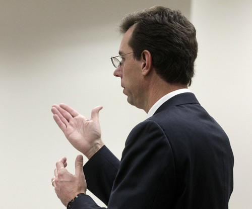 Al Hartmann  |  The Salt Lake Tribune Defense lawyer Randy Spencer objects to allowable testimony of witness Dr. Joshua Perper, a forensic pathology expert, in the Martin MacNeill murder trial in 4th District Court in Provo, Utah, Friday Nov. 1, 2013.