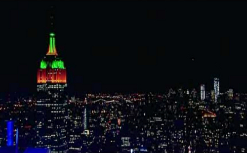 In this still image made from video taken on Thursday, Oct. 31, 2013, the Empire State Building in New York is lit up in orange and green colors for Halloween. Marc Brickman, the landmark building's lighting designer, says Thursday night's show was created with about 15,000 channels of LED lighting. (AP Photo)