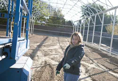 Lennie Mahler  |  The Salt Lake Tribune West Valley City mayoral candidate Karen Lang works on an expansion to the family-owned Oakbridge Greenhouse on Friday morning Oct. 18, 2013.