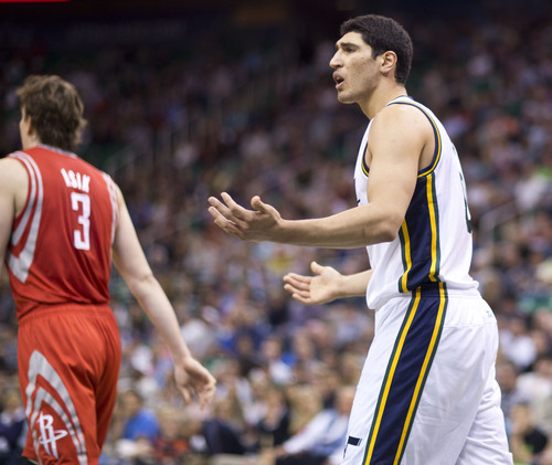 Lennie Mahler  |  The Salt Lake Tribune Jazz center Enes Kanter reacts to a foul call in the first half of a game against the Houston Rockets on Saturday, Nov. 2, 2013, at EnergySolutions Arena in Salt Lake City.