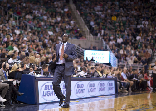 Lennie Mahler  |  The Salt Lake Tribune Utah Jazz coach Tyrone Corbin reacts to a foul call in the first half of a game against the Houston Rockets on Saturday, Nov. 2, 2013, at EnergySolutions Arena in Salt Lake City.