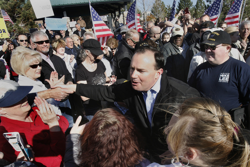 Scott Sommerdorf   |  The Salt Lake Tribune Sen. Mike Lee works his way through the crowd that gathered for a rally in his support in  South Jordan on Saturday, Nov. 2, 2013.