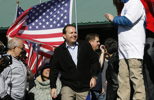 Scott Sommerdorf   |   The Salt Lake Tribune Sen. Mike Lee arrives at a rally to speek to supporters in  South Jordan on Saturday, Nov. 2, 2013.